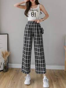Plaid Pants Korean-Trousers Syiwidii Vintage Female High-Waist Wide Plus-Size Casual