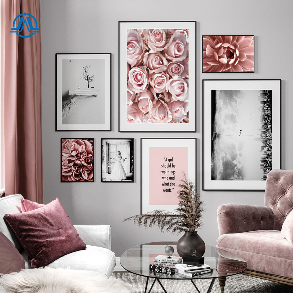 Peony Rose Succulent Flower Wall Art Balance Quote Canvas Painting Nordic Posters And Prints Wall Pictures For Living Room Decor