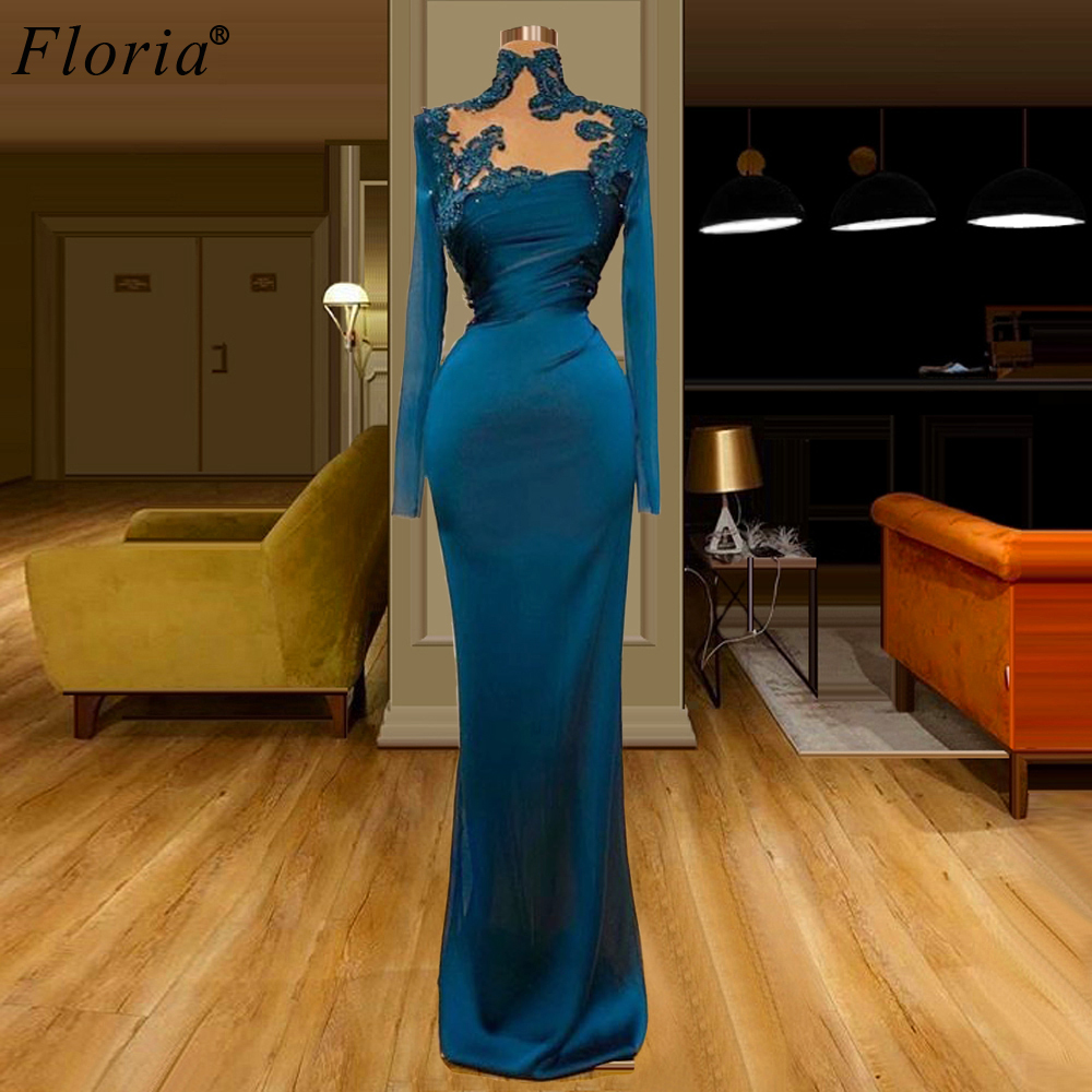 платье Navy Blue Formal Evening Dresses Long Sleeves Appliques Prom Dresses Elegant Muslim Dresses Woman Party Night Vestidos