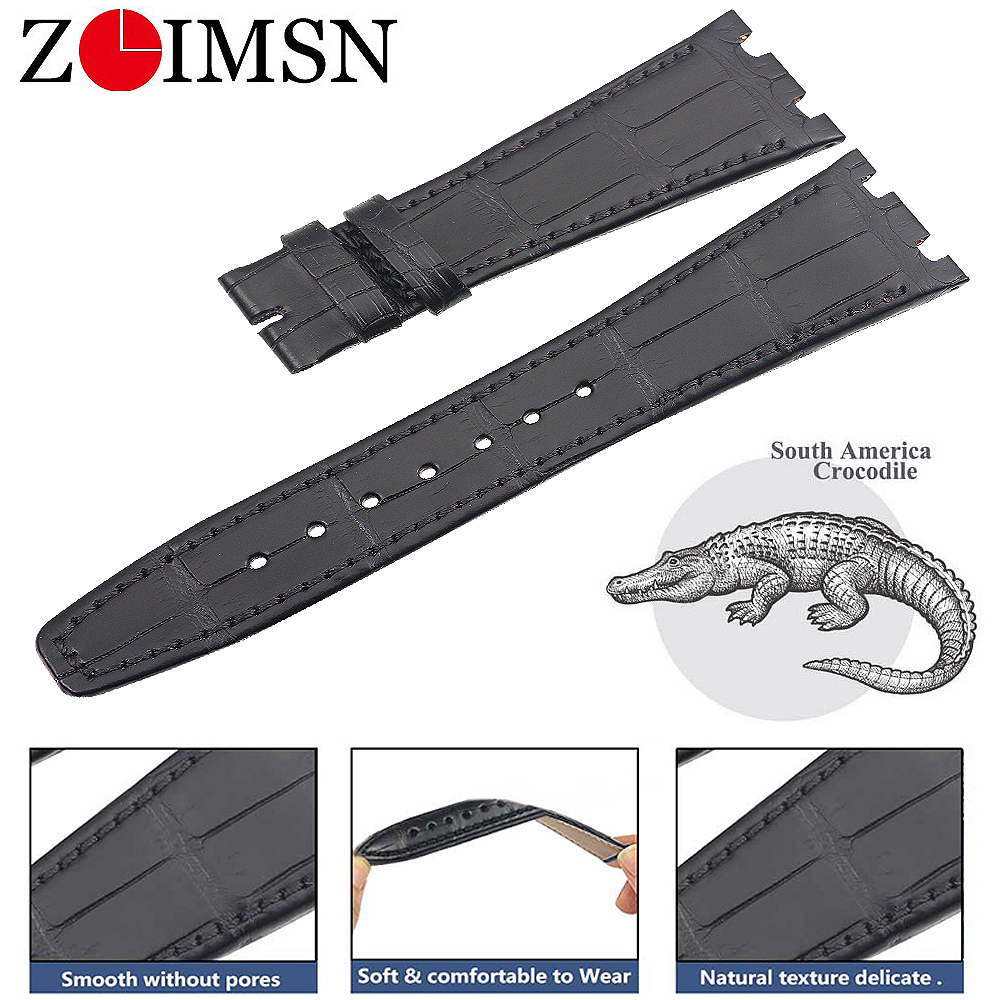 ZLIMSN Genuine Alligator Customized Crocodile Leather Strap 28-18MM Fit For Audemars Piguet Leather WatchBand Watch Strap