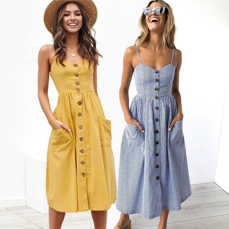 Sexy Party Boho Sundress Women Summer Dress 2019 Casual Backless Midi Dress Button Polka Dot Striped Floral Beach Dress Female