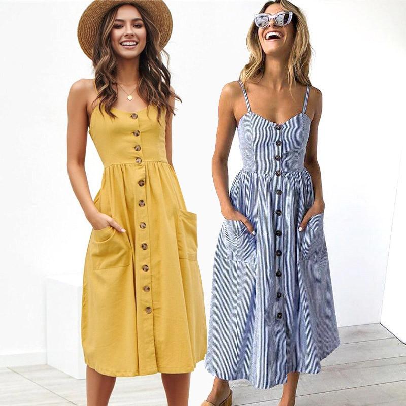 Sexy Party Boho Sundress Women Summer Dress 2020 Casual Backless Midi Dress Button Polka Dot Striped Floral Beach Dress Female