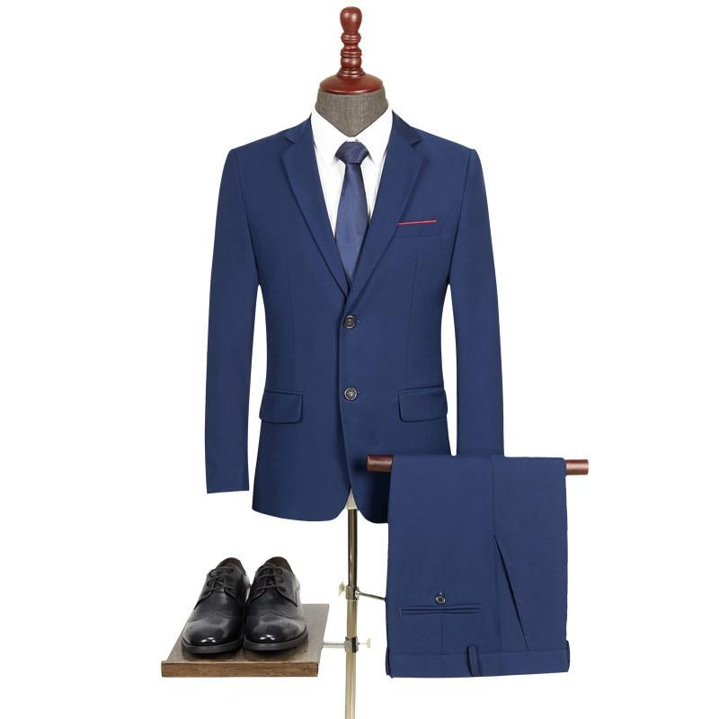52.1 2,,69.99,New Men `s Suit Two -piece Black Navy Suits Men Slim Fit Groom Wedding Suit Korean Jacket Pants Trousers Men`s Suits