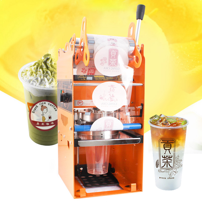 Manual Cup Sealer Plastic Sealing Machine Paper Bubble Tea Cup Sealer Packing Sealer Cup With Counting Function WY-802K