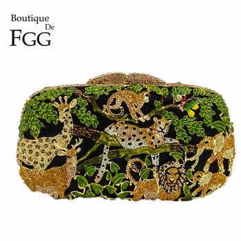 Boutique De FGG Rain Forest Giungla Delle Donne di Cristallo Animale Zoo Borse Da Sera Delle Signore Del Partito di Diamante Borsa Da Sposa Frizione di Cerimonia Nuziale del Sacchetto