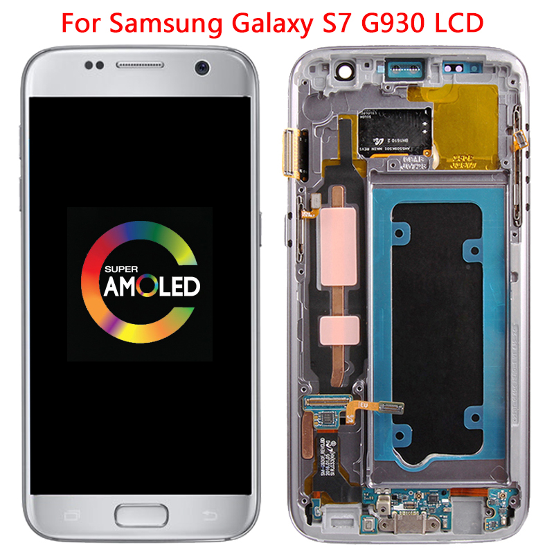 NEW OLED G930 LCD For Samsung Galaxy S7 LCD Display Touch Screen With Frame Digitizer Assembly For Samsung G930 G930F LCD Screen