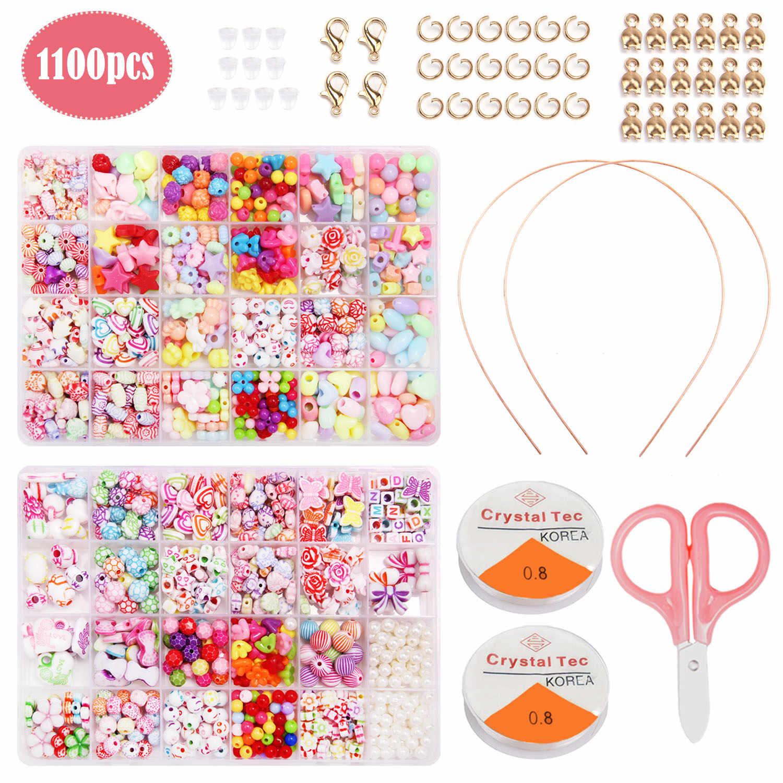 1100 Pcs Acrylic Kerajinan Gelang Manik-manik dengan Gunting String Rambut Hoop untuk Anak-anak Perhiasan Gelang Kalung Membuat Persediaan