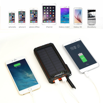 Waterproof Solar Power Bank with Cigarette Lighter Mobile External Battery Portable Charger for iPhone Samsung Huawei Xiaomi etc 4