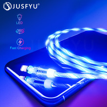 Magnetic Cable USB Type C LED Lighting fast Charging Micro Charger Wire for iPhone Huawei Samsung