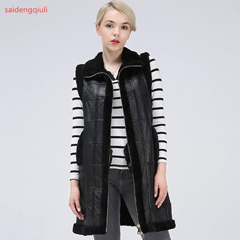2019 New Sheep Shearing Winter Clothing Women Coat Stitching Medium Length Coats Fur Coat keep warm waistcoat jacket