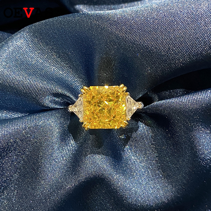 OEVAS 925 bague de mariage en argent Sterling pour les femmes de luxe 10*10MM jaune rose blanc Zircon pierres précieuses anneaux Fine bijoux en gros