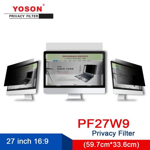 Filtro de privacidad YOSON 16:9 Pantalla de monitor LCD, pantalla ancha de 27 pulgadas, película anti peep, película anti reflejo