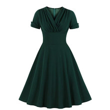 MIXINNI Hot Sale Sexy V-Neck Retro Temperament Pleated Waist Large Dress 2125