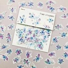 40 unidades/pacote flores roxas diy adesivo vara etiqueta caderno álbum diário decoração