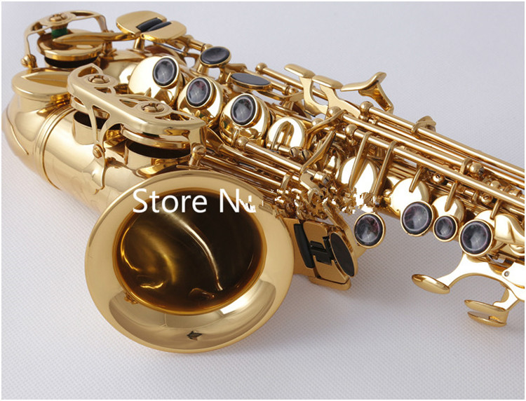high quality SC W010 Small Curved Soprano Saxophone Electrophoresis Gold Sax B Flat Instruments with Accessories Case Free Ship - 3