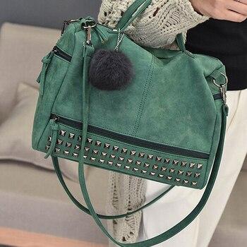Vintage Nubuck Leather Ladies Handbags Rivet Larger Women Bags Hair Ball Shoulder Bag Motorcycle Messenger Top-Handle