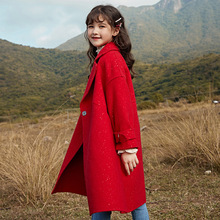 6-12 years children cloth toddler girl winter clothes Korean Girl Red Double-sided Woolen Coat Clothes 80% Wool kids coat jacket