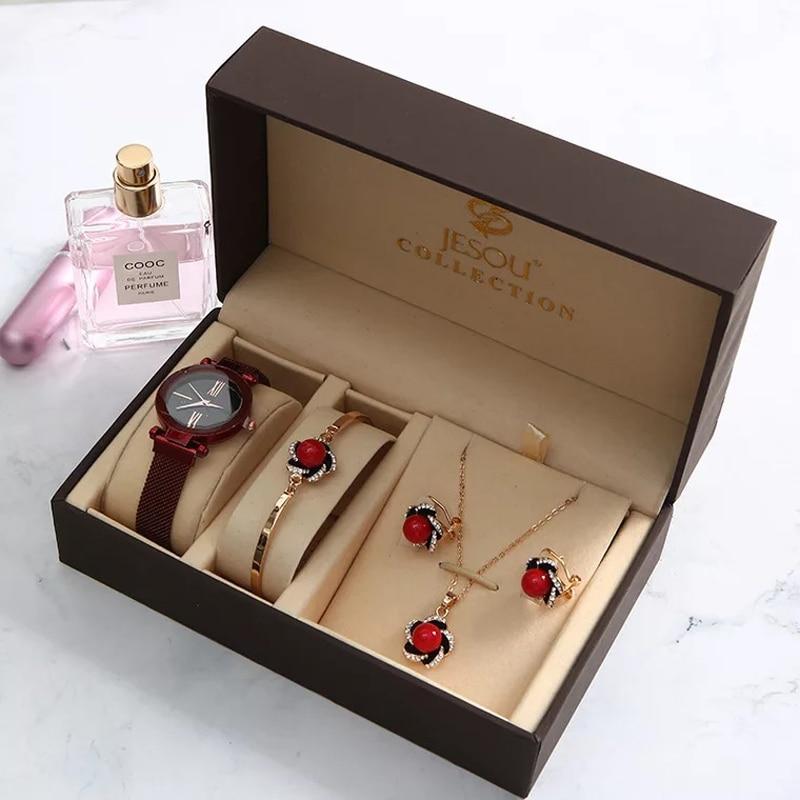 New Fashion Women Watches Set Luxury Diamond Earrings Necklace Bracelet Set Ladies Starry Sky Wacth For Women Valentine Gift