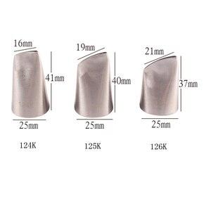 Image 5 - 3 個キッチンや入浴の供給菓子ノズルローズアイシング配管ヒント #124 #125 #126 18K ステンレス鋼ノズルセットケーキデコレーションツール
