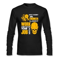 2019 New Fashion T Shirts Men Engineer 2 Long Sleeve CrewNeck Cotton Men Slim T Shirt Christmas Gift For Cool Mens