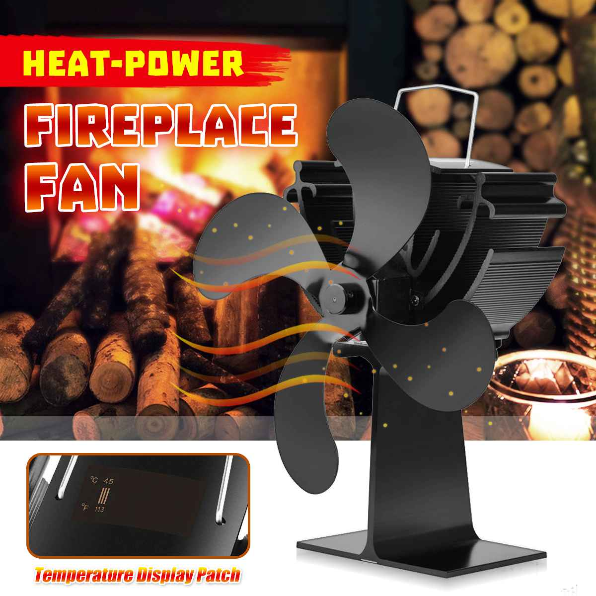 Stove Fan 4 Blade Temperature Display Fireplace Heat Powered Wood Burner Eco Friendly Quiet Fan Home Efficient Heat Distribution