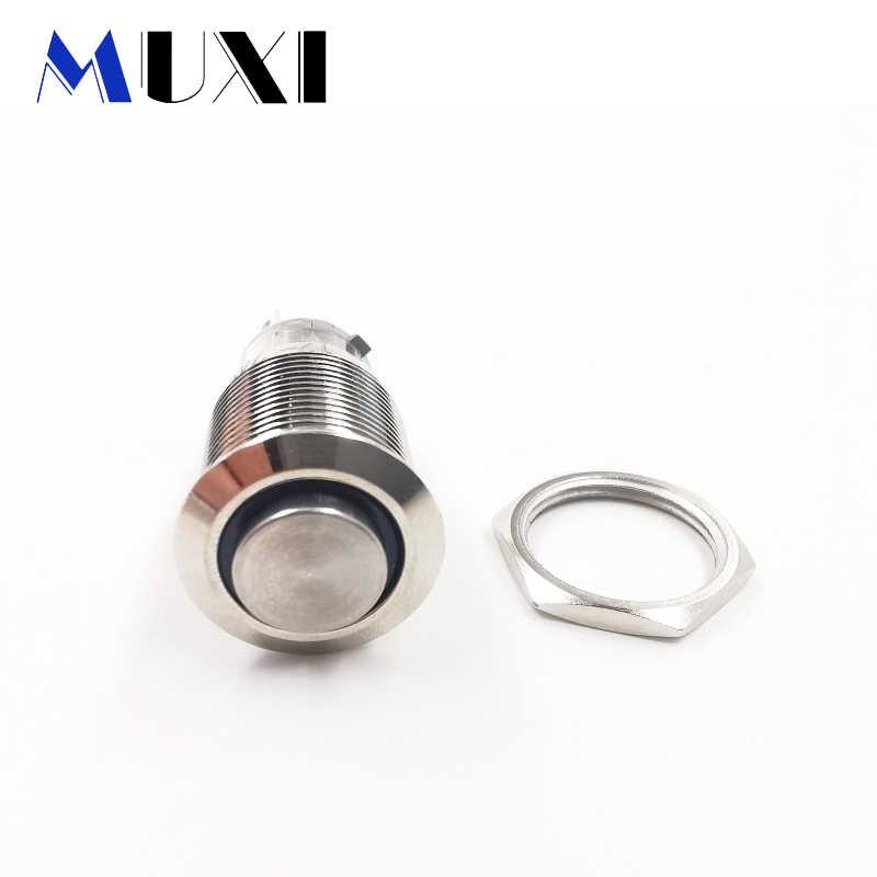 16mm haute-tête autobloquant étanche métal bouton poussoir interrupteur lumière LED 3V 5V 6V 12V 24V 110V 220V rouge bleu vert ORANGE