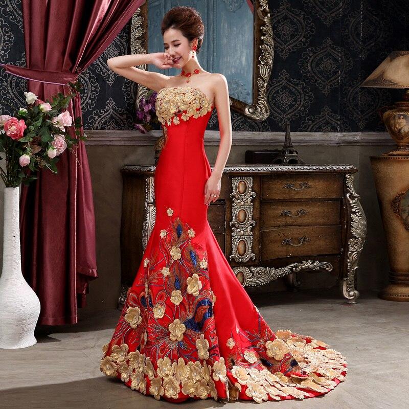 Red Mermaid Cheongsam Traditional Chinese Wedding Dress Women Dress Elegant Fishtail Evening Dress Flower Qipao Sexy Strapless