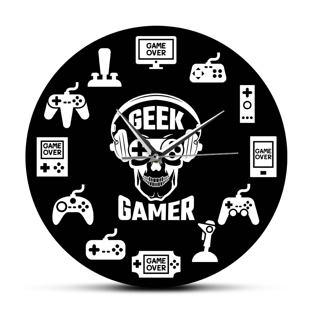 temps de jeu jeu video suspendu montre murale console controleurs salle de jeu art mural decoratif horloge murale geek gamer idee cadeau