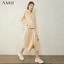 AMII Minimalism Autumn Causal Women Hoodies Set Solid Hooded Loose Sweater Hoodies Solid Irregular Hem Female Skirt 12020233