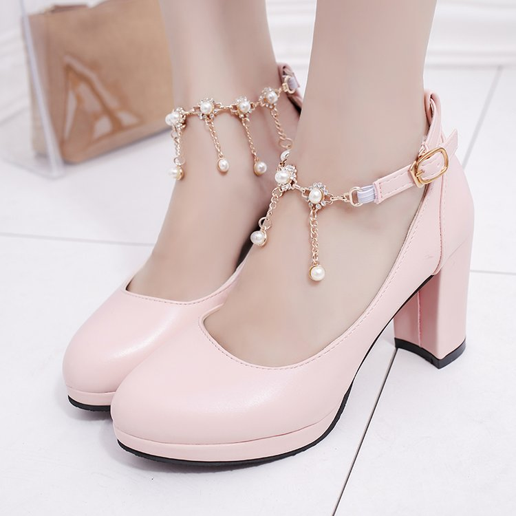 high heels platform pumps Women's Pumps Shoes High Heel Pu Pearl Buckle Platform 2019 Autumn Sexy Fashion Casual Wedding Party