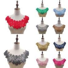 Tela de encaje de alta calidad, 11 colores, apliques bordados para escote, vestidos de flores DIY, apliques para cuello, suministros de costura de tela