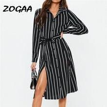 Женское офисное платье рубашка zogaa Черное длинное в полоску