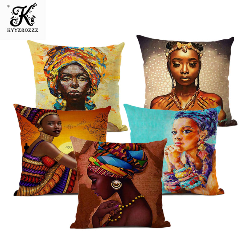 Fashion African Girl Lady Oil Painting Black Women Home Art Decoration Sofa Throw Pillow Case Cotton Linen Cushion Cover 45x45cm