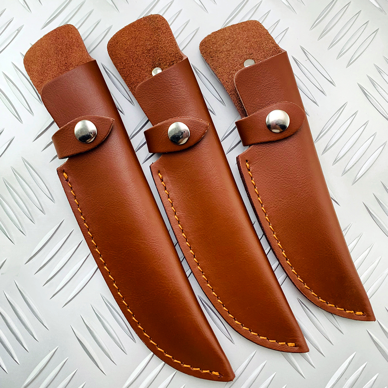 Outdoor Small Straight Knife Set Belt Loop Hunt Multi Holster Carry Sheath Leather Scabbard Cowhide Knife Sheath