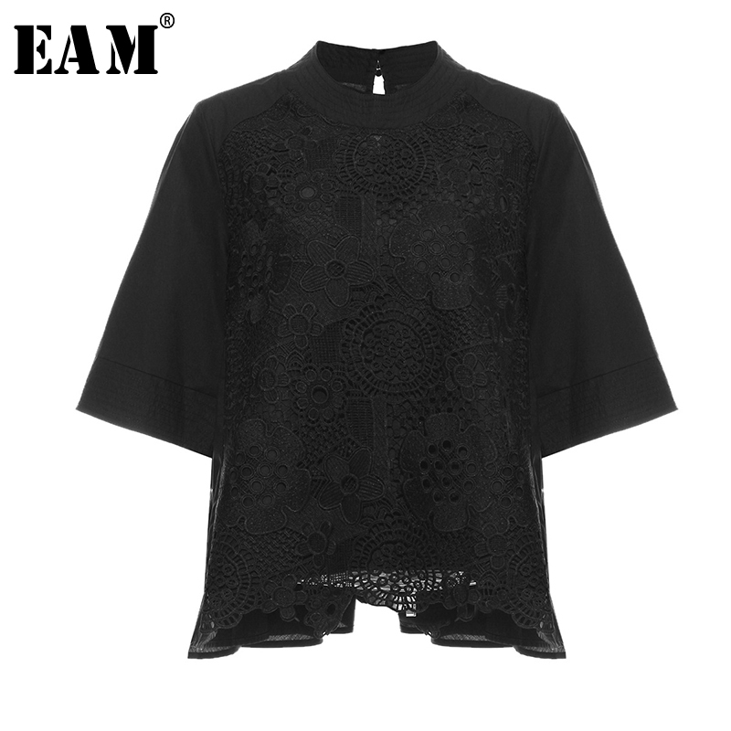 [EAM] Women Lace Split Big Size Temperament T-shirt New Stand Collar Three Quarter Sleeve  Fashion  Spring Autumn 2020 1N910