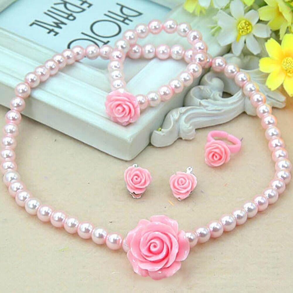 1 Set Cute Kids Rose Pearl Necklace Bracelet Earrings Elastic Girls Fashion Princess Pink Children Kawaii Children Jewelry