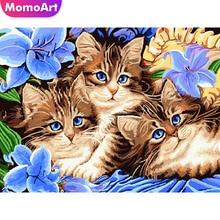 MomoArt Diamond Painting Cat Mosaic Animal Embroidery Full Drill Square Rhinestone Cross Stitch Flowers