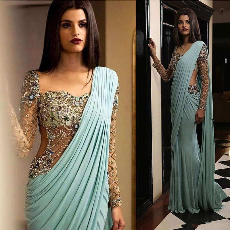 Aso Ebi Arabic Luxurious Sexy India Evening Dresses Beaded Crystals Mermaid Prom Dresses  Formal Party Second Reception Gown