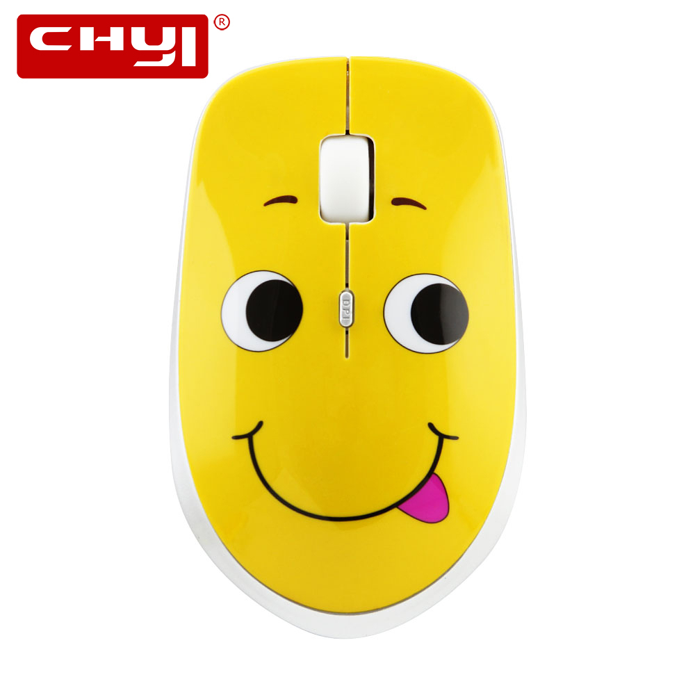 CHYI Cute Expression Wireless Mouse Computer Optical Silent Mouse Adjustable 1000/1200/1600 DPI USB Gaming Mice For PC Laptop