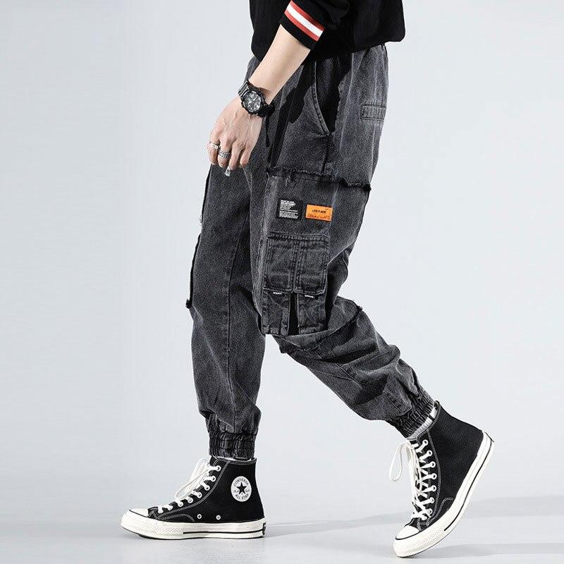 Japanese Fashion Men Jeans Black Gray Vintage Designer Harem Trousers Multi Pockets Cargo Pants Streetwear Hip Hop Jeans Men