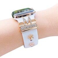 Charms in metallo anello decorativo per cinturino Apple Watch Diamond Ornament Smart Watch accessori cinturino in Silicone per cinturino iwatch