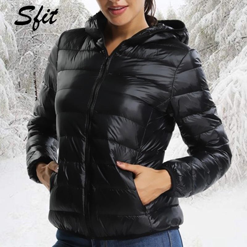 Sfit Jacket Parka Winter Coat White-Duck-Down Autumn Women Hooded Ultra-Light Female