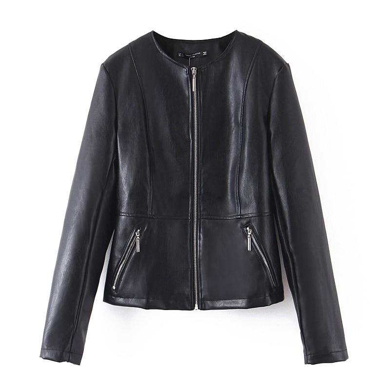 Women Spring Autumn Pu Leather   Jacket   Zipper O neck Long Sleeves Faux Leather Black   Basic     Jackets   Coat XB9293