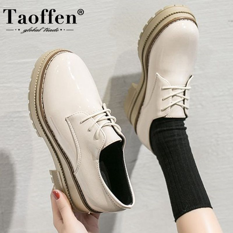 Taoffen Women Flats Shoes Thick Bottom Platform Shoes Fashion Casual Round Toe Lady Shoes Square Heel Spring Shoes Size 35-40