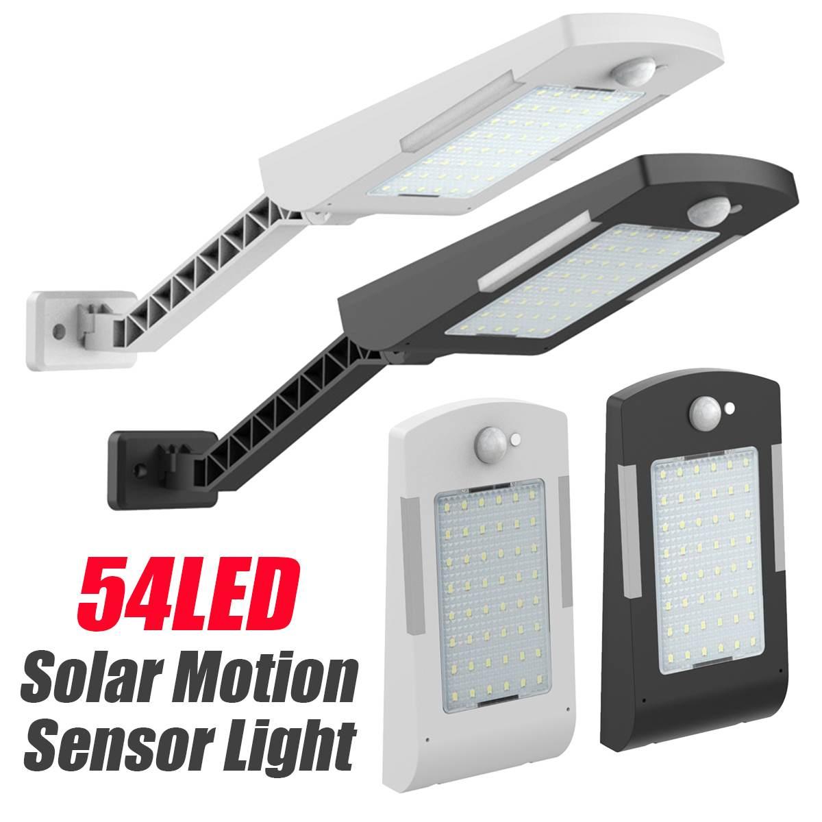 54 LED Solar Power Street Light 3 Modes PIR Motion Sensor Wall Lamp Outdoor IP65 Waterproof With Rotate Bracket Black White