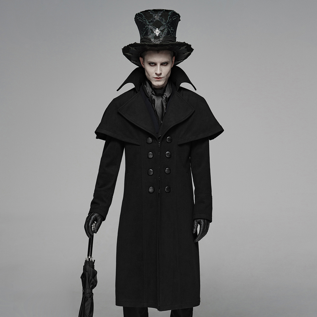 PUNK RAVE Men's Gothic Dark Jacket Simple Style Dinner Party Palace Stage Performance Costume Mens Winter Coats