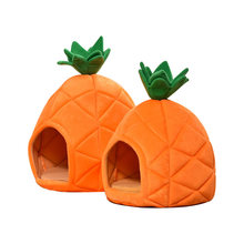 Lovely Pineapple Shape Dog House Warm and Breathable Pet Bed Orange Soft Cat Tent Suitable for Winter Sleep Puppy Sofa for Teddy