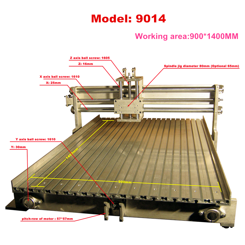 DIY Aluminum Cnc Router Frame 900x1400mm Z Stroke 100mm 6090 Aluminum Frame Engraving Machine Lathe Bed Cnc Kit