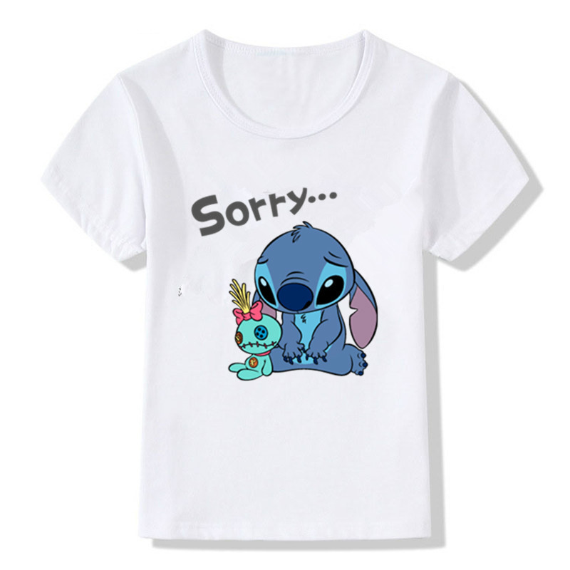 2018 Summer Style Funny Casual Children T Shirt Lovely Cute Cartoon Stitch Printed Kids Short Sleeves Baby Tops Tees BAL095