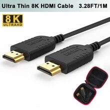 FOINNEX Ultra cienki kabel HDMI 48 gb/s 3.28FT 8K @ 60Hz Super elastyczny Slim HDMI 2.1 przewód wysokiej prędkości HDR dla HD TV, pudełko żarówka jak PS4